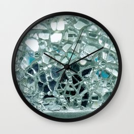 Icy Blue Mirror and Glass Mosaic Wall Clock