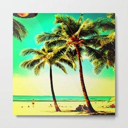 Normal Green Yellow Vintage Palm Tree with Hawaii Summer Sea Beach Metal Print