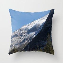 Mountain with Winter Snow Throw Pillow