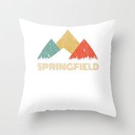 Retro City of Springfield Mountain Shirt Throw Pillow