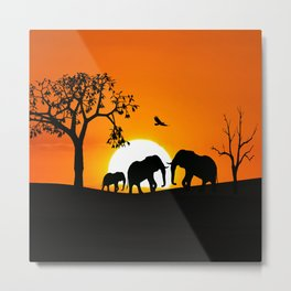 Elephant silhouettes at sunset Metal Print
