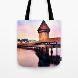 Lucerne, Switzerland Chapel Covered Bridge Tote Bag