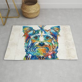 Colorful Yorkie Dog Art - Yorkshire Terrier - By Sharon Cummings Rug