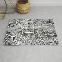 Washington DC City Street Map Rug