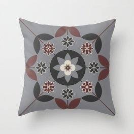 Floral Motif (Sable Brown, Sharkskin Grey, Cream, DarkCharcoal) Throw Pillow