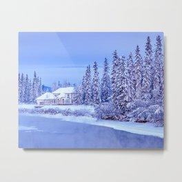 Winter Home on Alaska River Metal Print