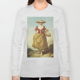 """François Boucher """"A peasant girl in a landscape carrying a basket of eggs"""" Long Sleeve T-shirt"""