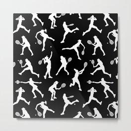 Tennis Players // Black Metal Print