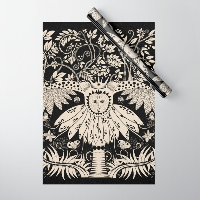 Owl king in black & white Wrapping Paper