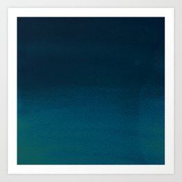 Navy blue teal hand painted watercolor paint ombre Kunstdrucke