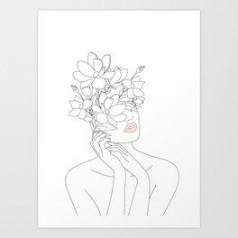 Minimal Line Art Woman with Magnolia Kunstdrucke