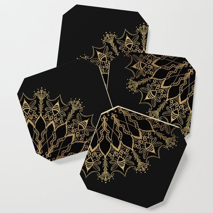 Golden Bee Mandala Coaster