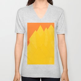 Colorful Yellow Abstract Shapes Unisex V-Neck