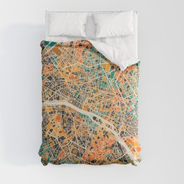 Paris mosaic map #2 Comforters