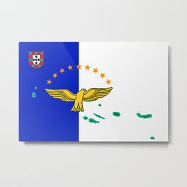 Azores Flag with Map of the Azores Islands Metal Print