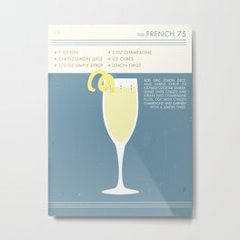 French 75 Cocktail Art Metal Print