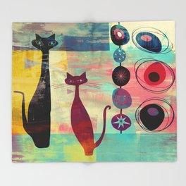 Mid-Century Modern 2 Cats - Graffiti Style Throw Blanket