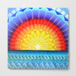 Sunrise Mandala, by Soozie Wray Metal Print