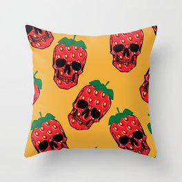 Skull Strawberries  Throw Pillow