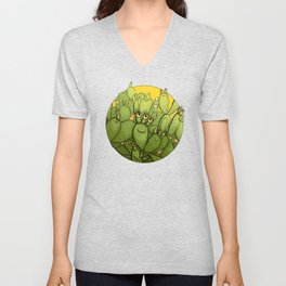 Funny Cactus Character Succulent Creatures Unisex V-Neck