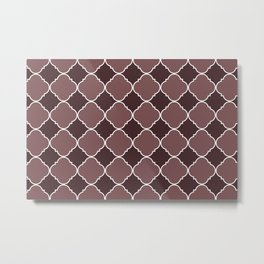 Pantone Red Pear Ornamental Moroccan Tile Pattern with White Border Metal Print