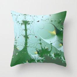 Under the magical fractal sea Throw Pillow