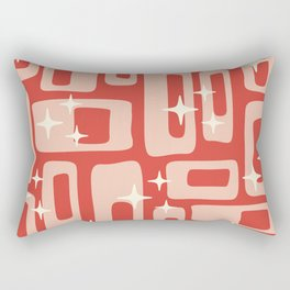 Retro Mid Century Modern Abstract Pattern 129 Red and Beige Rectangular Pillow