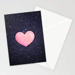 Pink heart on shiny black Stationery Cards