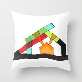 Bright Light Architectural Illustration Throw Pillow