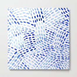 Watercolor dotted lines - blue Metal Print
