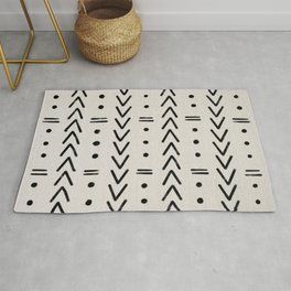 Mudcloth Black Geometric Shapes in White  Rug
