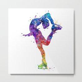 Ice Skating Girl Colorful Watercolor Art Gift Metal Print