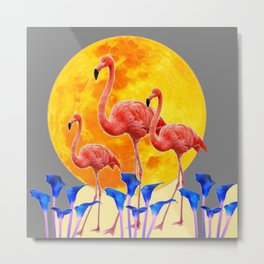PINK FLAMINGOS FULL MOON BLUE LILIES Metal Print