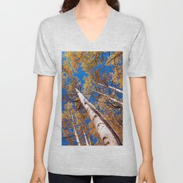 Aspen Trees Against The Sky In Crested Butte, Colorado Unisex V-Neck