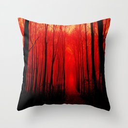 Misty Red Forest Throw Pillow