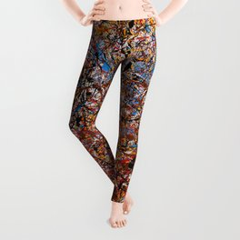 ELECTRIC 071 - Jackson Pollock style abstract design art, abstract painting Leggings