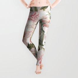 Vintage & Shabby Chic - Antique Pink Peony Flowers Garden Leggings