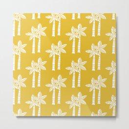Palm Tree Pattern Mustard Yellow Metal Print