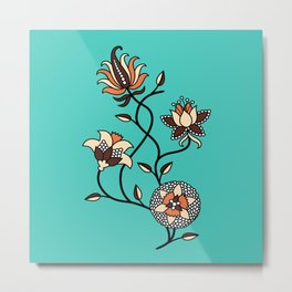Whimsical illustrated Indian floral neon teal Metal Print