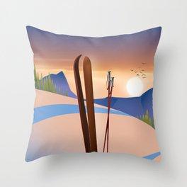 Ski landscape poster Throw Pillow