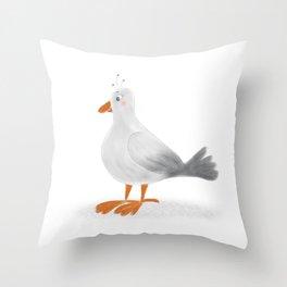 Cute light Gray Cartoon Seagull Throw Pillow