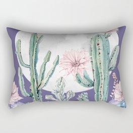 Desert Cactus Full Moon Succulent Garden on Purple Rectangular Pillow