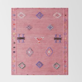 Pink Oriental Traditional Boho Moroccan Style Design Artwork Throw Blanket