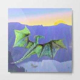 Green Crystal Water Dragon Metal Print