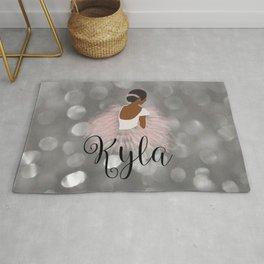 African American Ballerina Dancer Personalized Name KYLA Rug