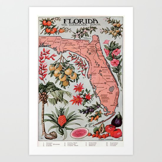 Vintage Map of Florida (1917) by bravuramedia