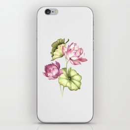 The lotus - Vintage water lilies watercolor hand painted isolated on white background illustration iPhone Skin