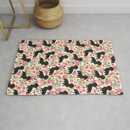 Doxie Florals - vintage doxie and florals gift gifts for dog lovers, dachshund decor, black doxie Rug
