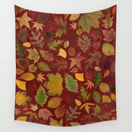 Autumn Leaves Red Wall Tapestry