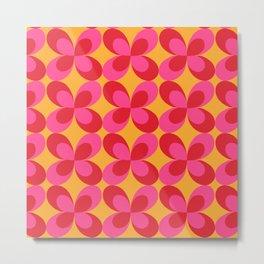 Retro floral pink Metal Print